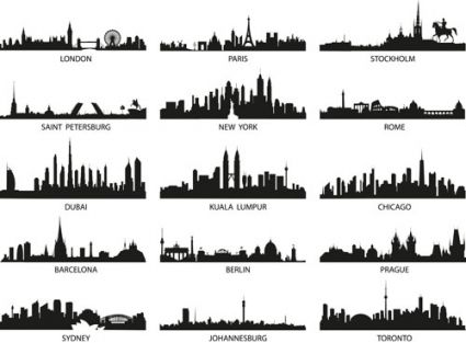 World Famous Cities Silhouettes Vector Set City Silhouette City Skyline Silhouette City Skyline