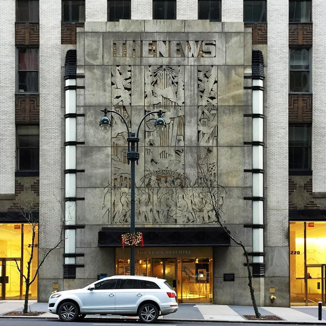 Entrance To The News Building Former Headquarters Of The New York