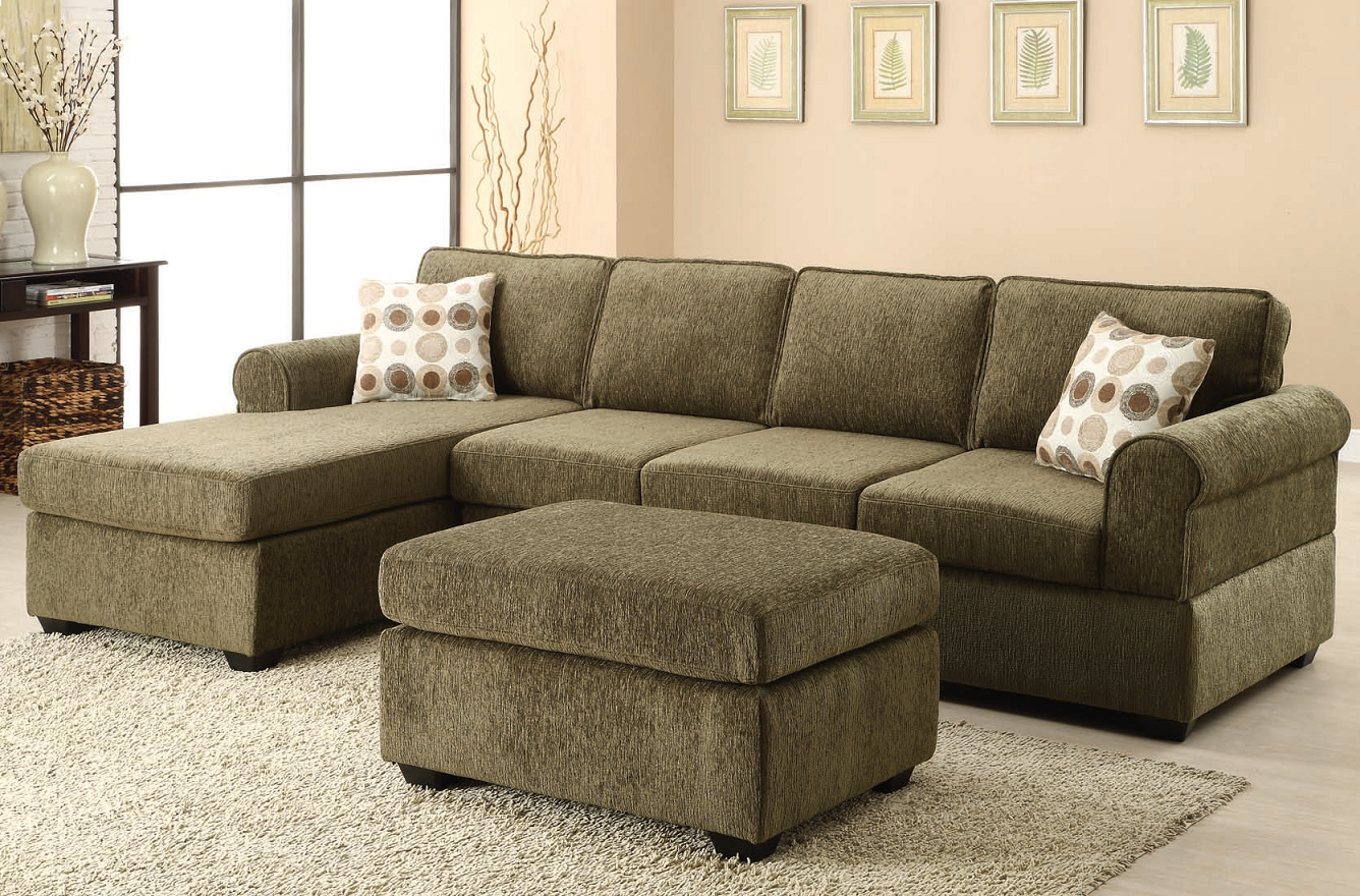 Likable Olive Green Fabric Sectional Sofa With Chaise And Patterned Throw Pillows Also Fabric Ottoma Brown Living Room Decor Living Room Green Sofa Set Designs