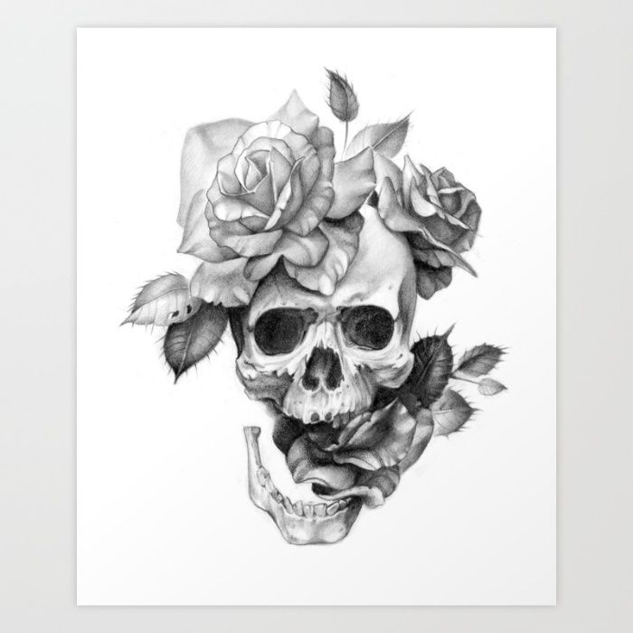Human Skull With Roses Pencil Drawing Br Br Br Br Human Skull Skull Roses Rose Pen Realistic Flower Tattoo Roses Drawing Realistic Rose Drawing