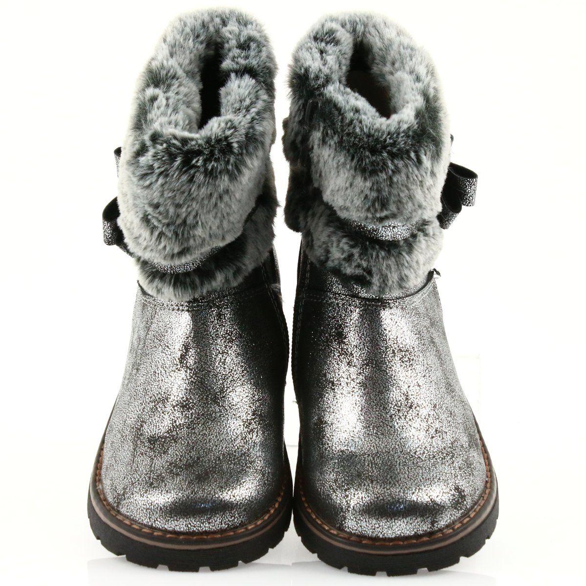 American Club American Kozaki Buty Zimowe Z Futerem 17042 Czarne Szare Boots Winter Boots Fur Boots