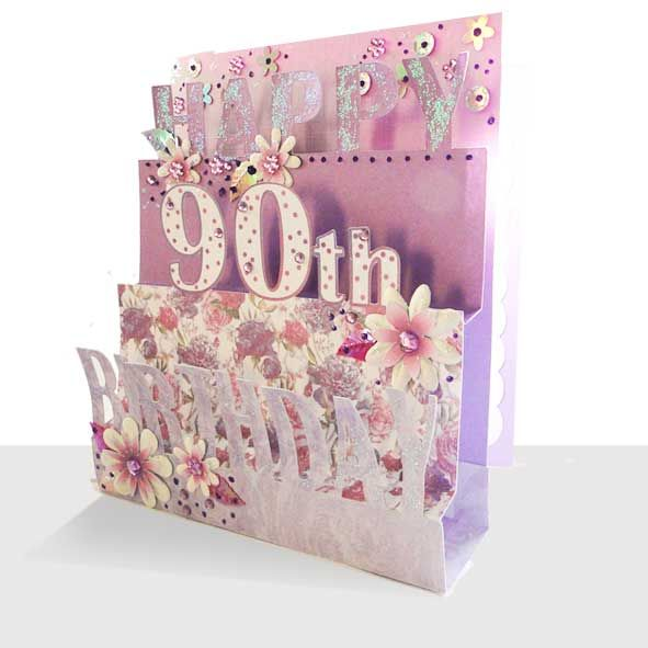 90th Birthday Card 3D Luxury Pop Up Handmade Unique Greeting Cards Online Buy Unusual Cute And Quality Christmas