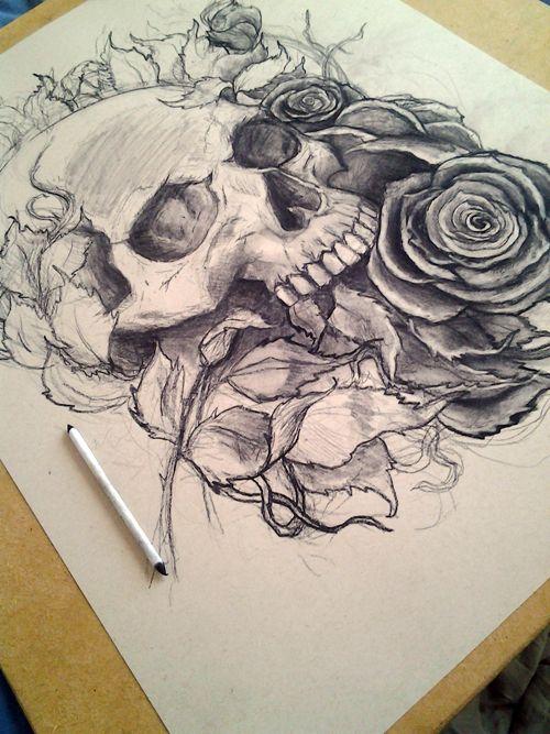 Skull and Roses Work Number 1 by Robert Mangaoang, via Behance