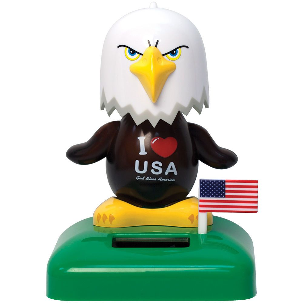 New I Heart Usa God Bless America Patriotic Bald Eagle Solar Powered Desk Dancer Home Amp Garden Home Decor Figurine Solar God Bless America Dancing Toys