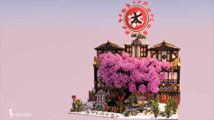 The Ancient Sakura Tree Of The Snow Garden Minecraft Project Sakura Tree Minecraft Projects Garden Minecraft