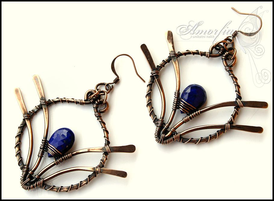 14 ga solid copper wire is shaped, hammered and tightly wire wrapped ...