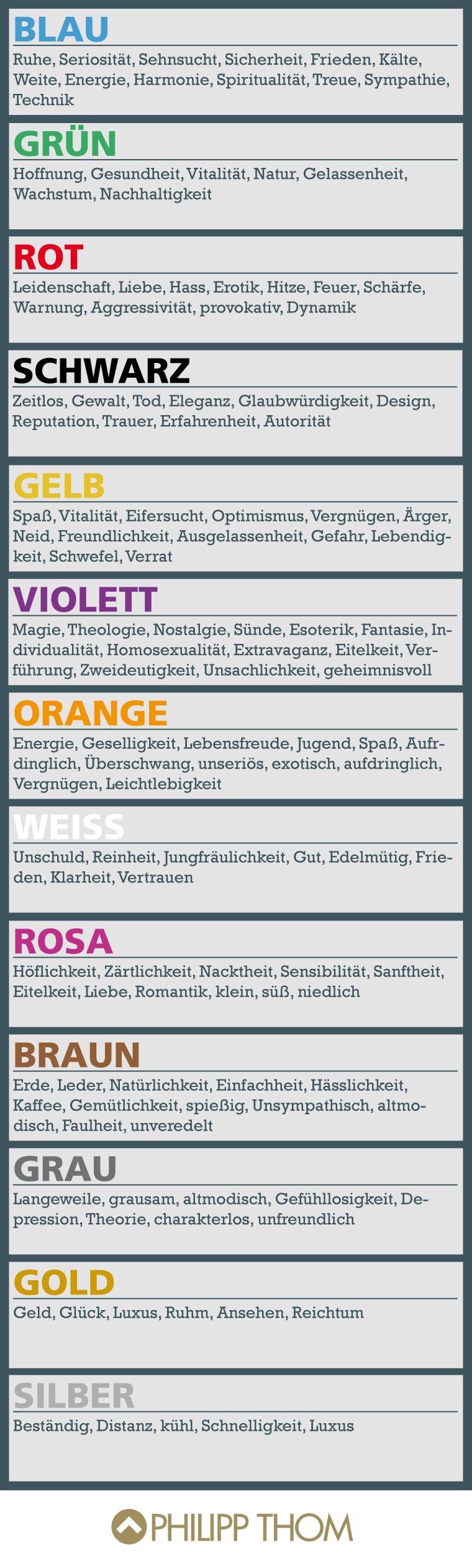 Alles über die Psychologie der einzelnen Farben. Good for oral ...