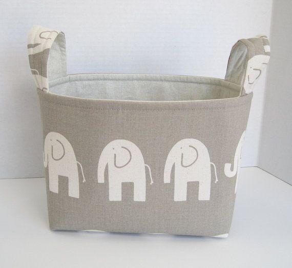 Large Ele the Elephant, Taupe and Ivory Fabric Basket on Etsy, $20.00