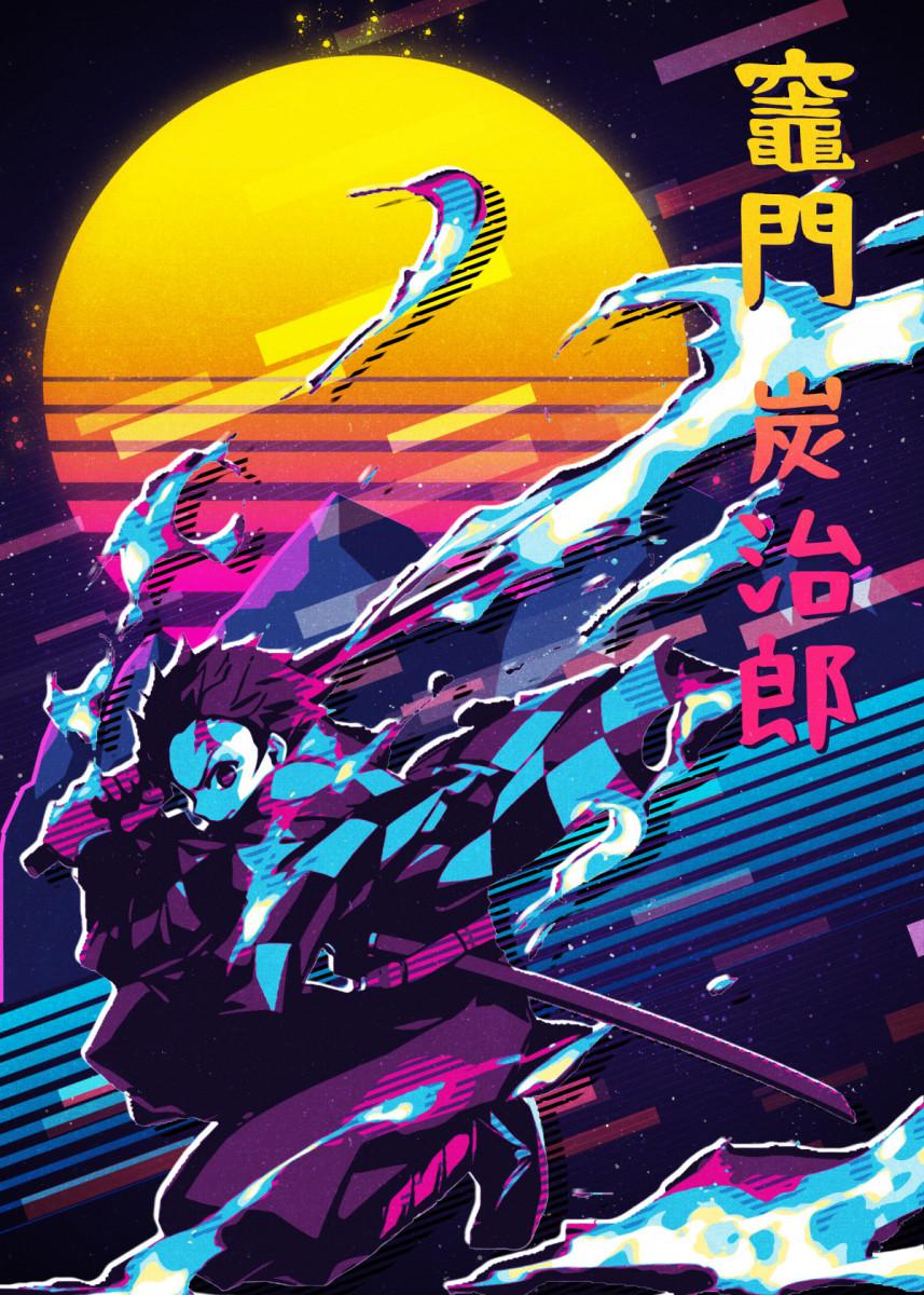 Tanjiro Kamado Metal Poster Print 80sretro Displate In 2020 Cool Anime Wallpapers Poster Prints Anime Wall Art