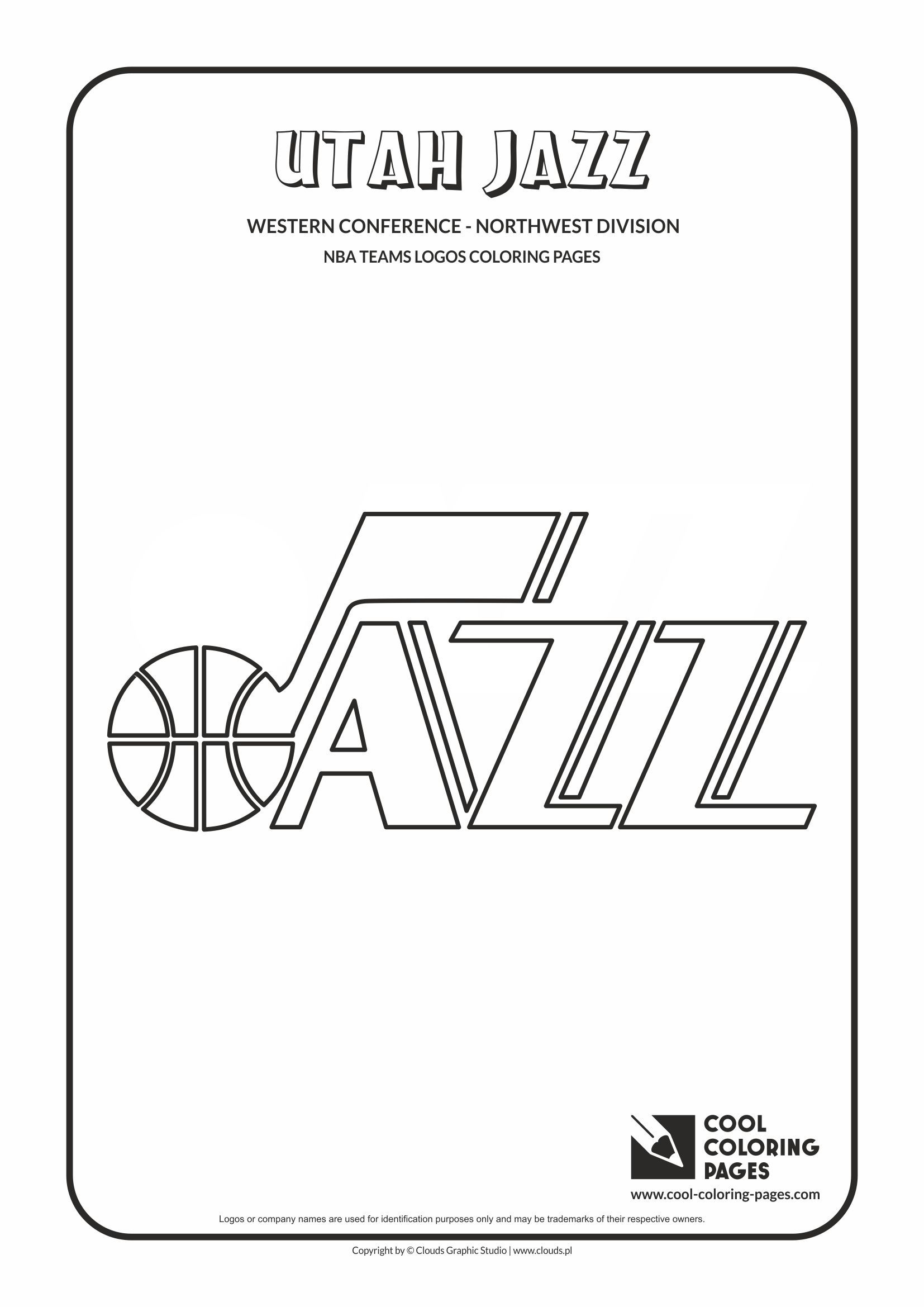 utah jazz coloring pages Cool Coloring Pages   NBA Basketball Clubs Logos   Western  utah jazz coloring pages