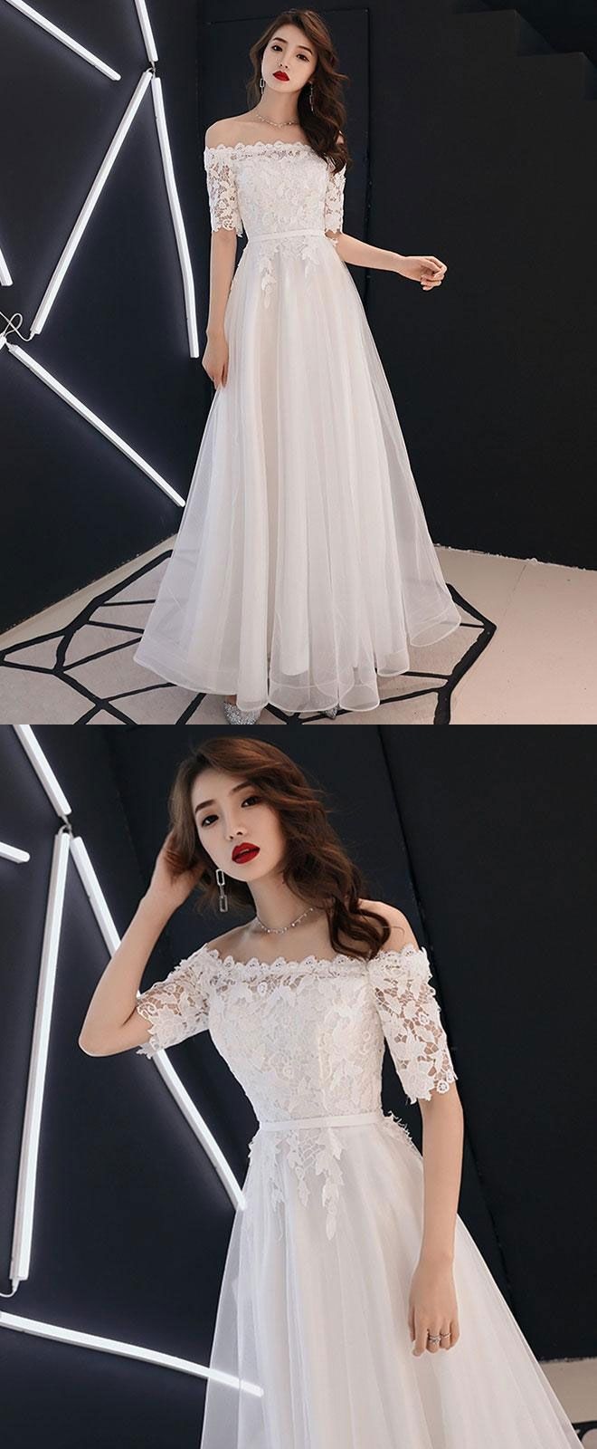 11e803d389b White lace tulle long prom dress