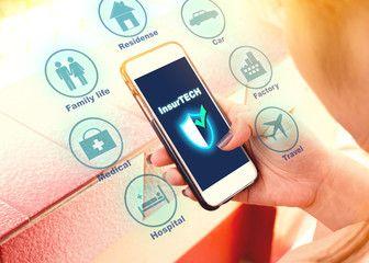 Insurance Technology Insurtech Concept Woman Looking Data