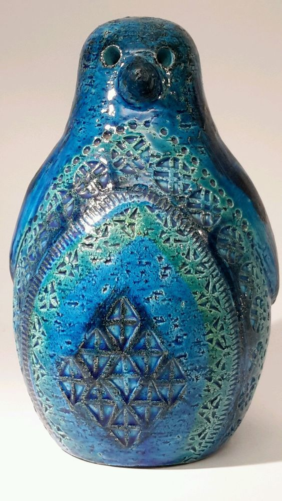 Vintage Aldo Londi Of Bitossi Penguin Italy Rimini Blue Pottery Mcm Pottery Art Pottery Vintage Pottery