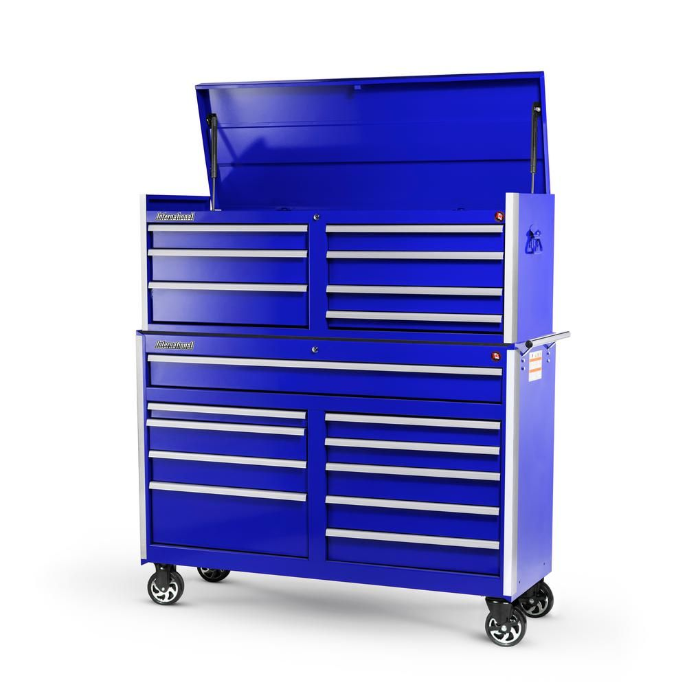 International Tech Series 54 In 17 Drawer Tool Chest And Cabinet Combo Blue Vrc 5417bu The Home Depot Tool Chest Stainless Steel Cabinets Soft Close Drawer Slides