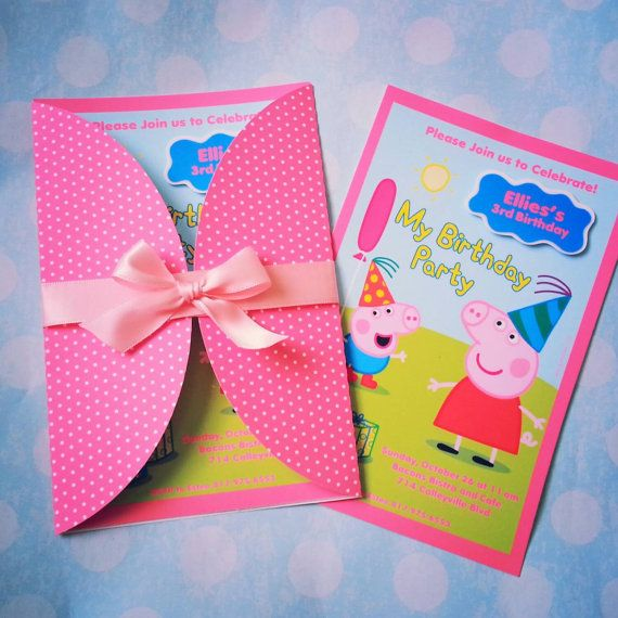 peppa pig invitation and thank you card by