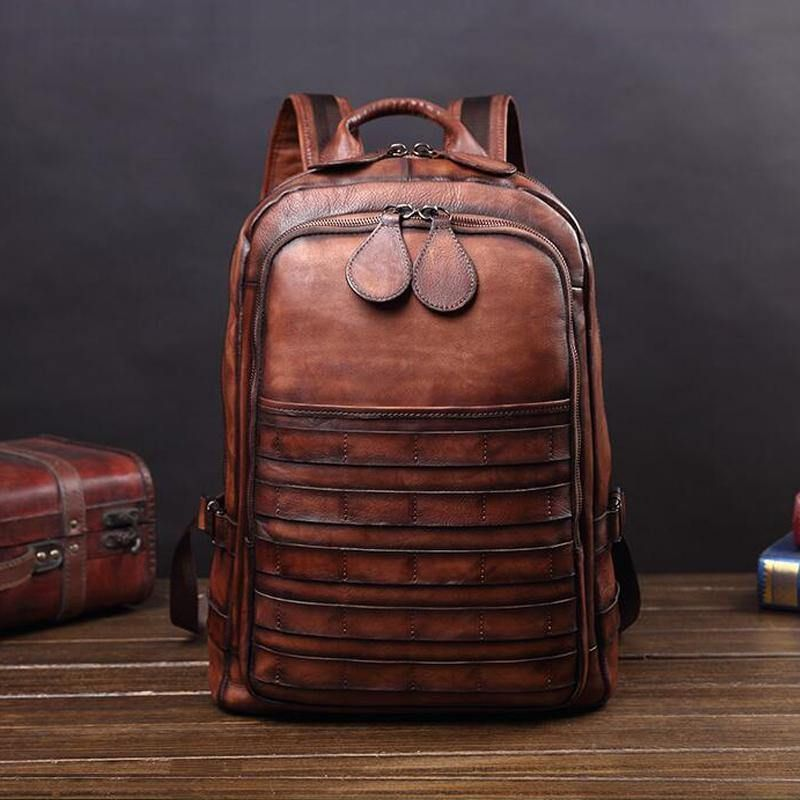 Detroit Full Grain Leather Backpack - Burnt Amber
