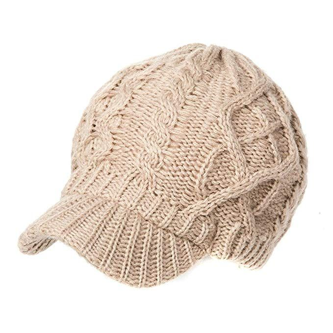 edcae2e74e9 SIGGI 50% 100% Wool Newsboy Cap Winter Hat Visor Beret Cold Weather Knitted  Review