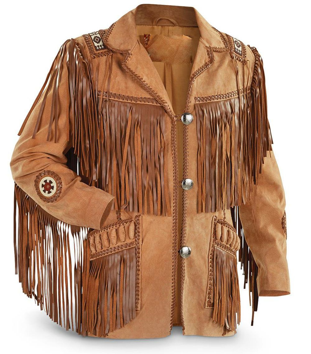 Classyak Mens Western Suede Leather Fringed Jacket with Bones /& Beans