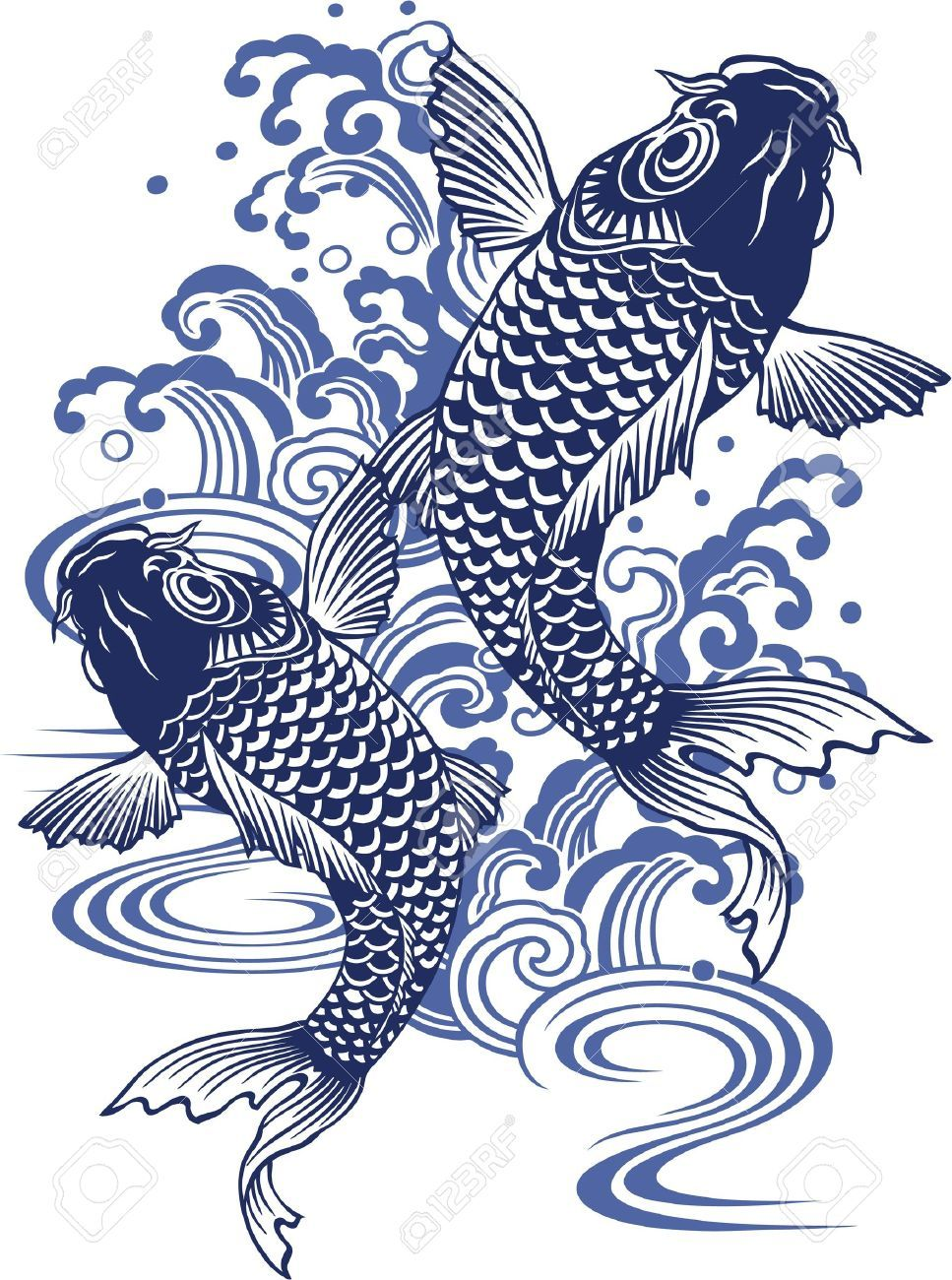 Stock Photo Carpe Japonaise Illustration Japonaise Carpe Koi Dessin