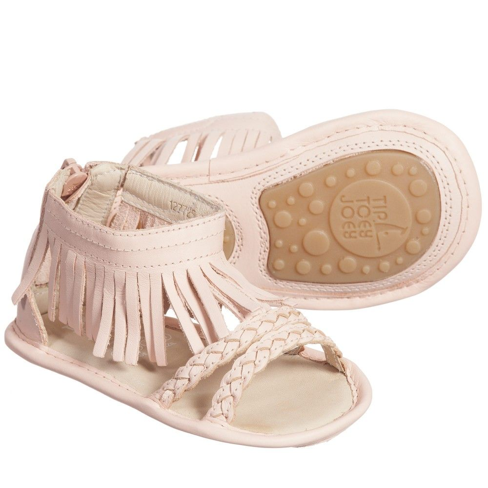 Baby Girls Pink Fringe Swoopy Sandals Tip Toey Joey