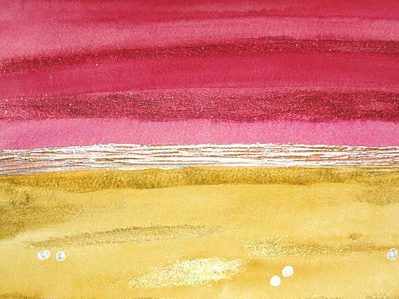 Modern Abstract Art Watercolor Acrylic Painting by LamArtStudio