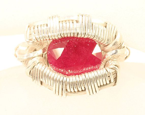 Wire wrap Ruby ring 5.5ct Ruby  Sterling silver by MalaGallery, $190.00