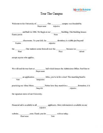 photograph about Free Printable Mad Libs for Middle School Students named Excursion The Campus Insane Lib Printable empowherment Significant