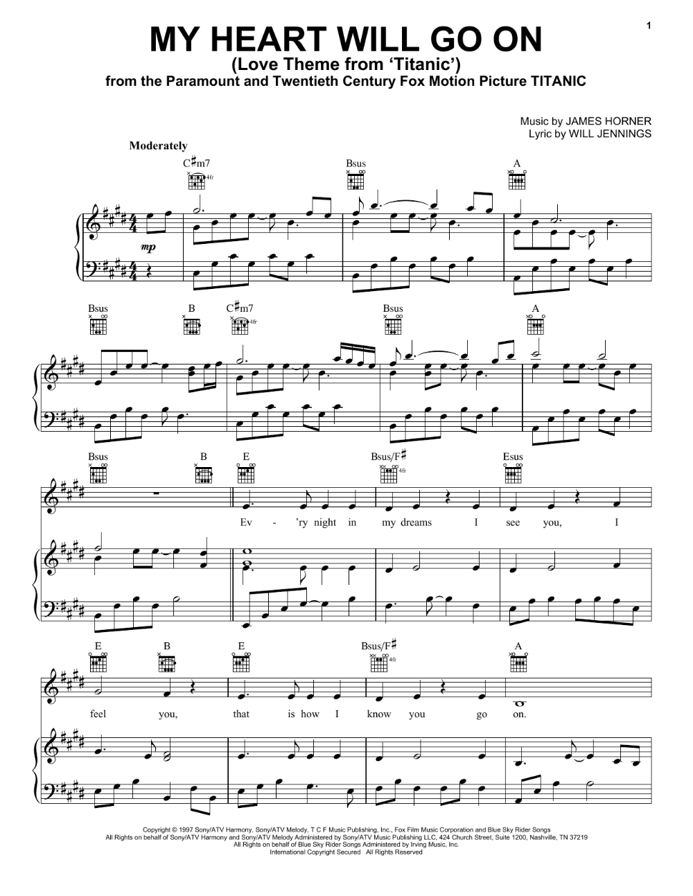 Celine Dion My Heart Will Go On Love Theme From Titanic Sheet Music Notes Chords Score Download Printable Pdf In 2020 Sheet Music Notes Hymn Sheet Music Sheet Music