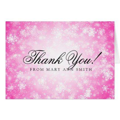 Thank You Birthday Party Pink Winter Wonderland Card