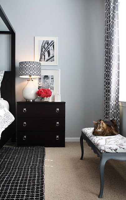ikea malm chest with silver pulls as nightstand