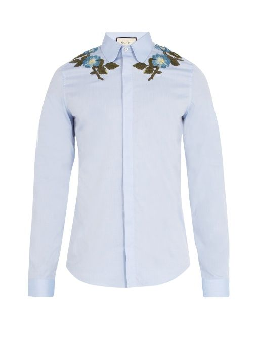 3d55d862c51 GUCCI Floral-Embroidered Cotton Shirt. #gucci #cloth #shirt | Gucci ...