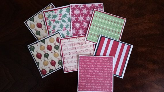 Christmas Mini Note Cards 3 x 3 Cards by TheInspiredCrafter