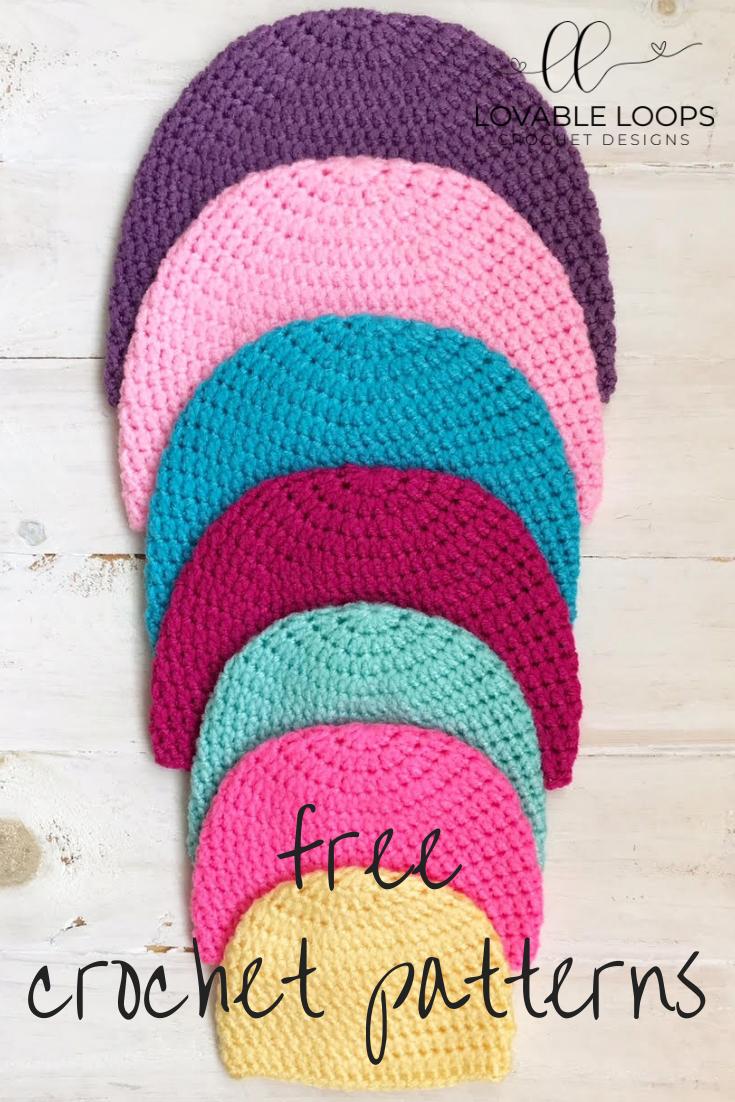 Free Basic Beanie Crochet Pattern. Sizes preemie- adult. #crochetbeanie #crochethat #preemiehat #babyhat #toddlerhat #childhat #adulthat #freecrochetpattern #lovableloops #beaniehats
