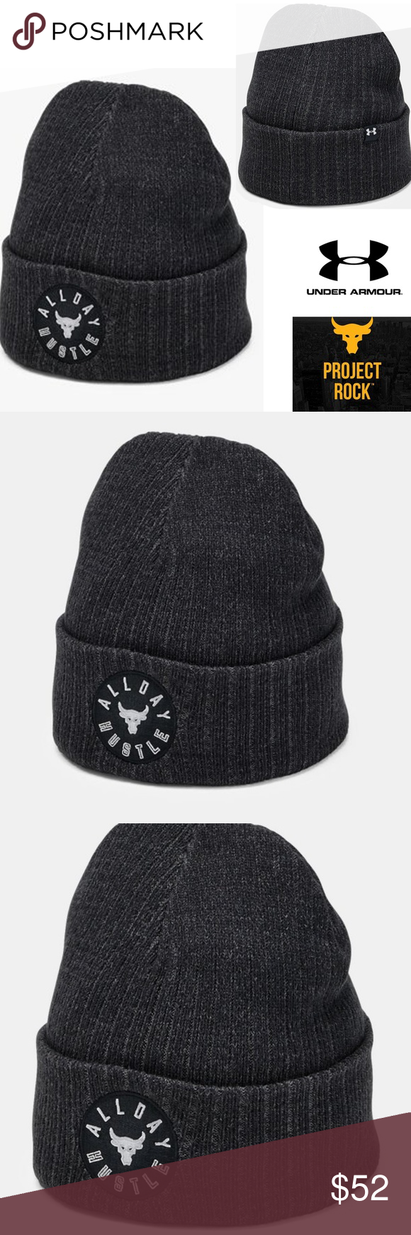 Under Armour Project Rock Beanie Brand New with Tags Under Armour Project  Rock All Day Hustle Beanie UA Men s SOLD OUT Under Armour Accessories Hats 8d14253bd85e