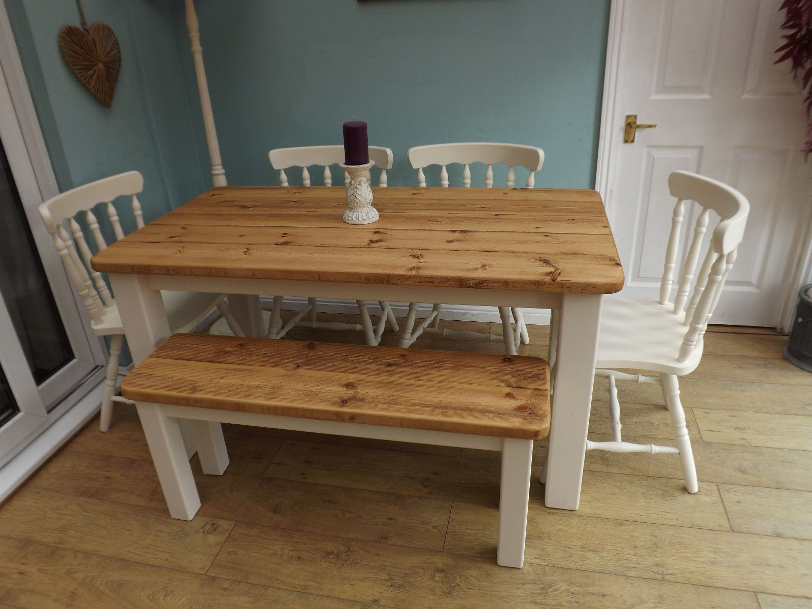 Pine Farmhouse Kitchen Table Rustic Pine Farmhouse Kitchen Dining Table And Chairs And Bench