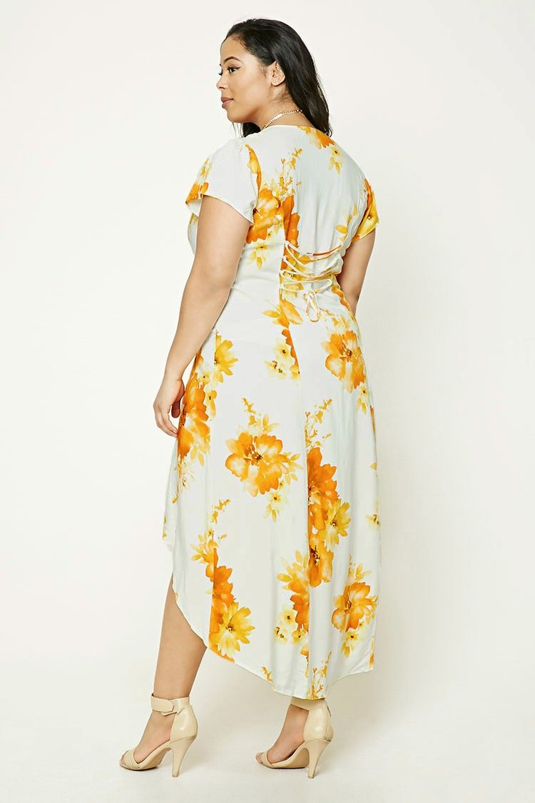 a904d10b1d8f5 Forever 21+ - A woven maxi dress featuring an allover floral print, a  V-neckline, cap sleeves, button front, a high-low hem.