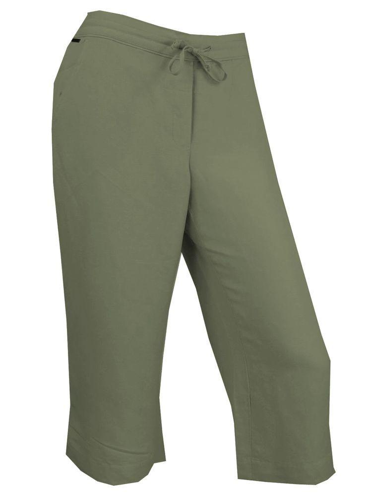 Calvin Klein Womens Linen Blend Crop Pants XS S Drawstring Lightweight Natural #CalvinKlein #CaprisCropped
