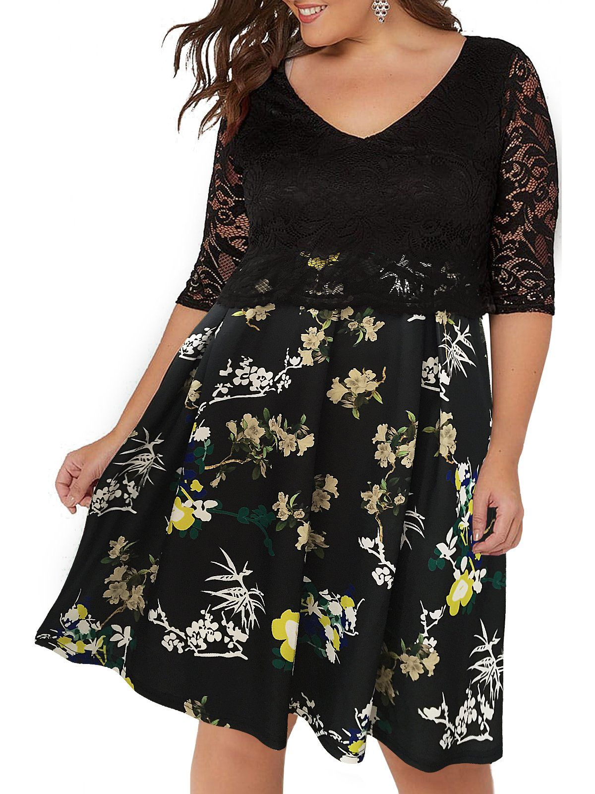 Green dress with lace overlay  Nemidor Womens Lace Overlay  In  Style Half Sleeves Plus Size Midi