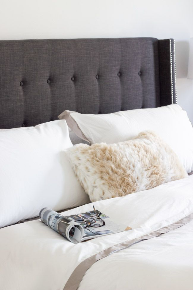 Charcoal Gray Headboard and white linens Love