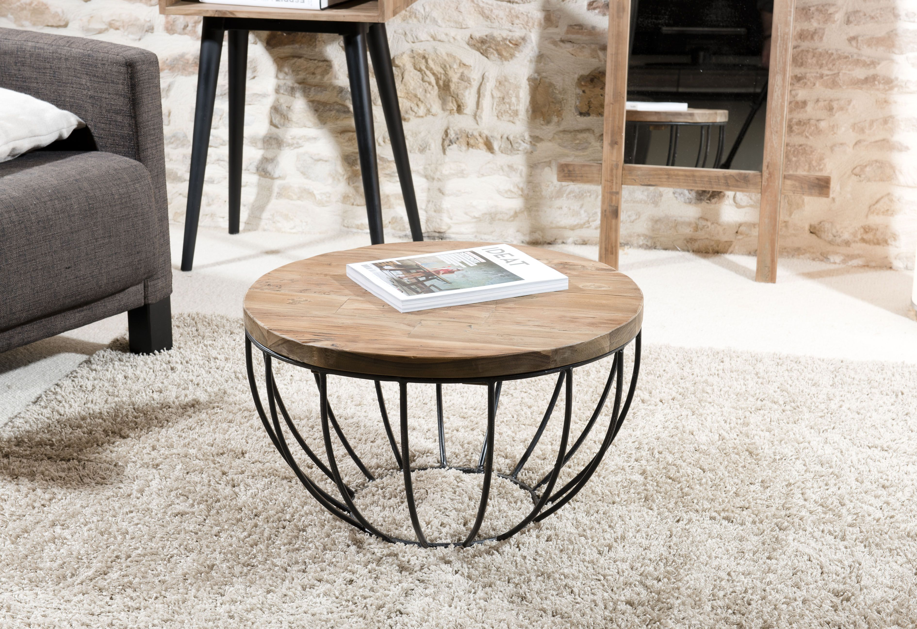 Petite Table Basse Ronde Teck Recycle Structure Filaire Noire Swing Petite Table Basse Ronde Table Basse Table Basse Ronde