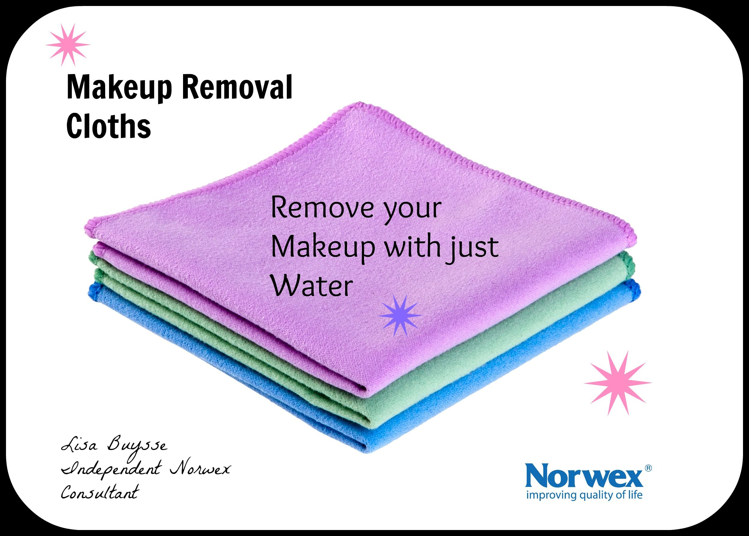 Norwex Makeup Removal Cloths use with water to remove