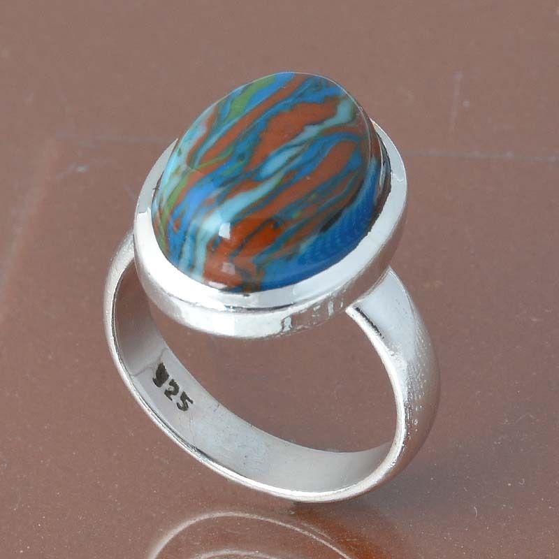925 SOLID STERLING SILVER RAINBOW CHALSELICA RING 4.94g DJR6834 #Handmade #Ring