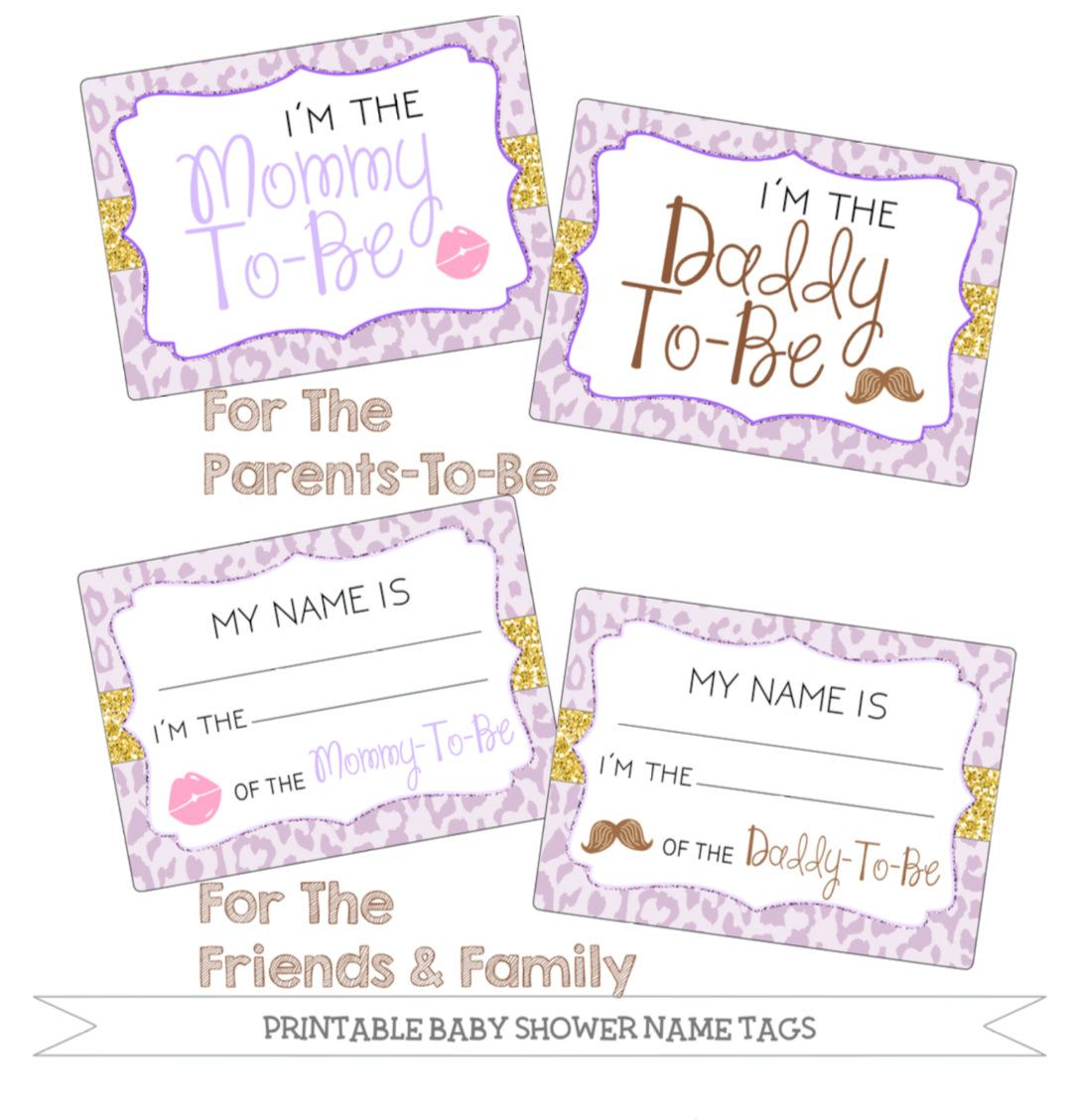 Printable Baby Shower Name Tags Package Lavender Cheetah Print