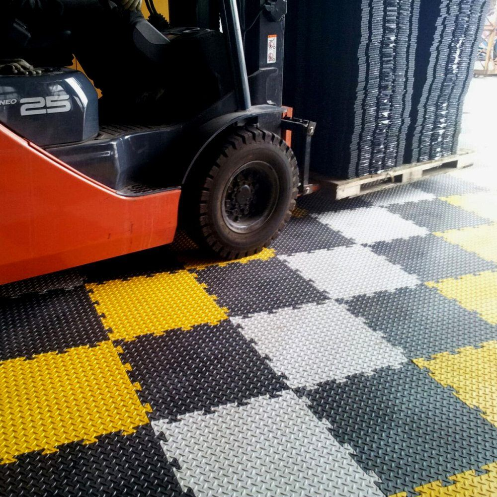 Checker Plate Garage Floor Tile 50cm (Black) in 2020