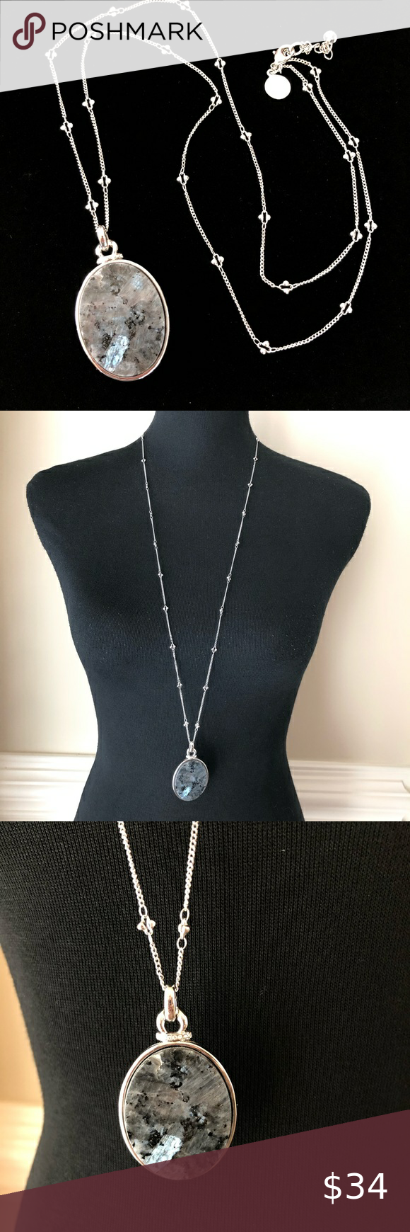 WHBM long Silver Natural Stone Pendant Necklace