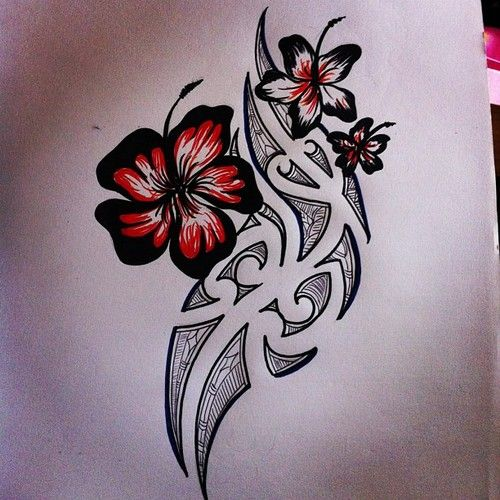 Hibiscus Tribal Flower Tattoos Hawaiian Tattoo Body Art Tattoos