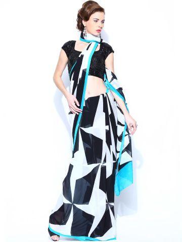 Satya Paul Black & White Georgette Printed Saree
