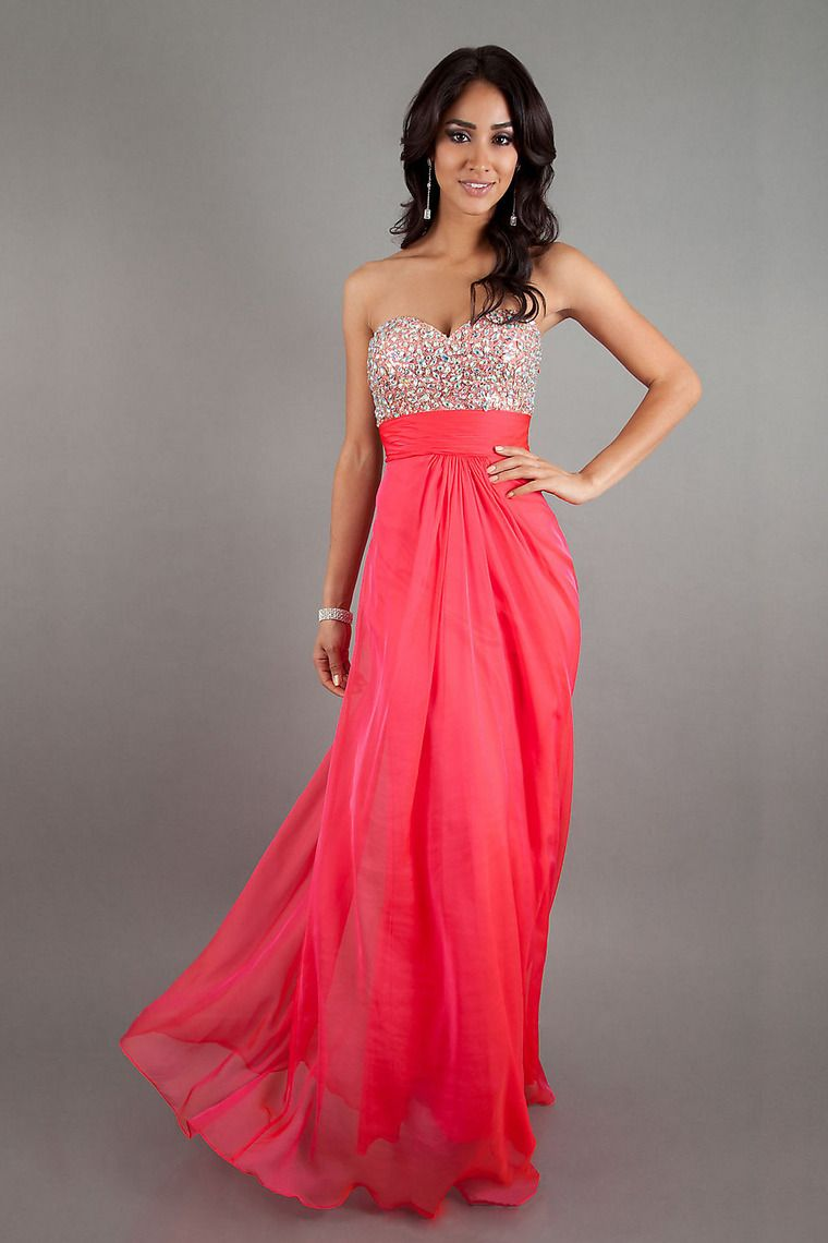 Bright pink dress for wedding guest  Shop Sexy Empire Sweetheart Full Length Beaded Prom Dresses Online