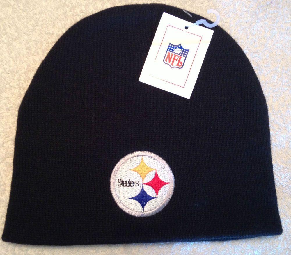 0edbd035 PITTSBURGH STEELERS Logo (Larger) New Black NFL Ski Beanie Hat NWT ...