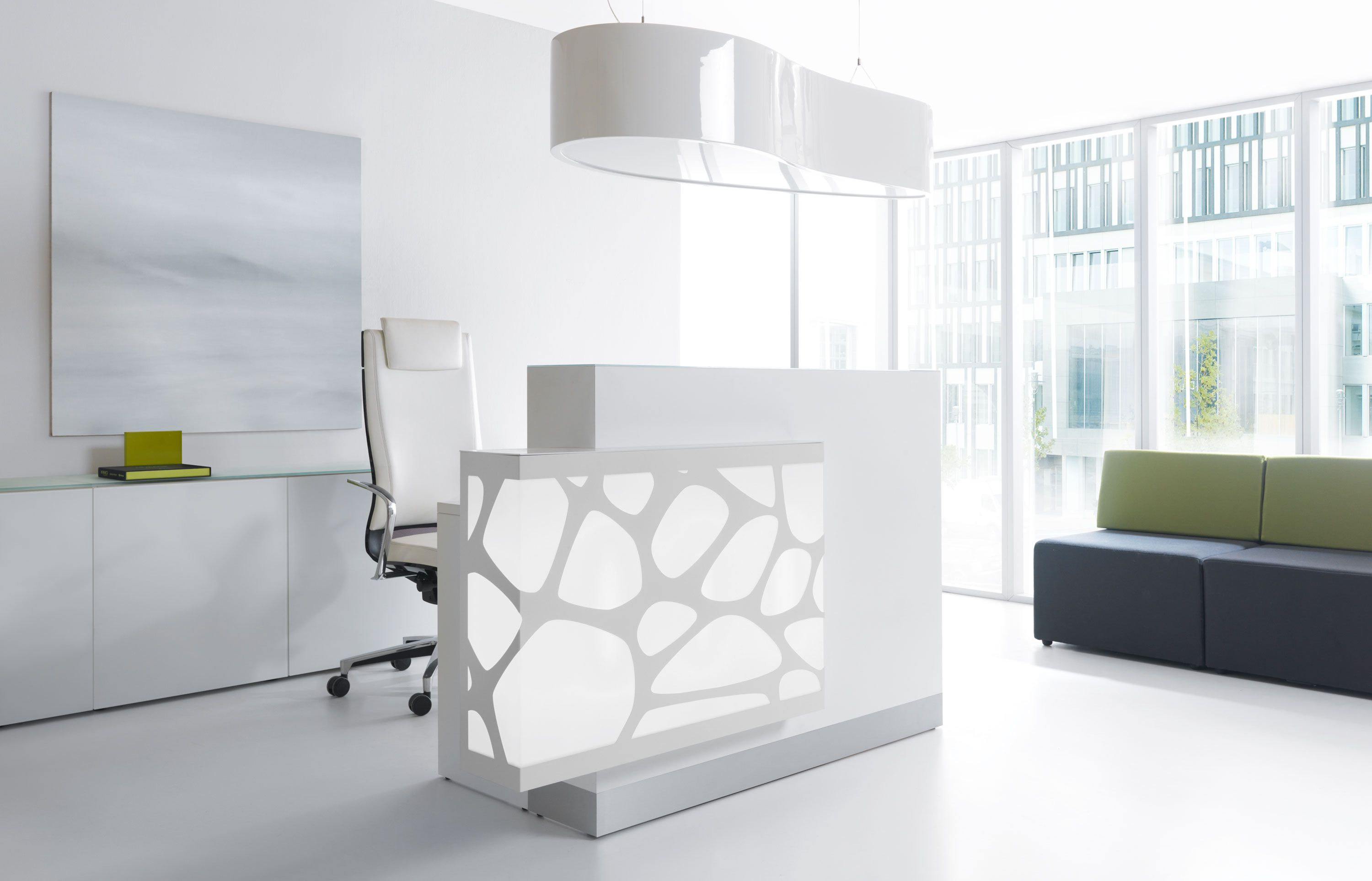 All White Reception Areas Are Still Trending This Year White Furniture Allows You To Add S Reception Desk Design Office Furniture Modern Modern Reception Desk